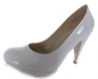 Дамски обувки на ток еко кожа/лак  бели UGLR-19628