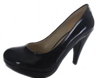 Дамски обувки на ток еко кожа/лак тъмно сини LVOJ-19639