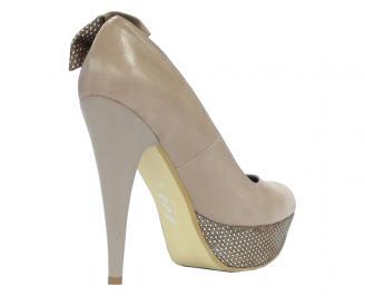 Дамски обувки от еко кожа бежови ELHJ-10494