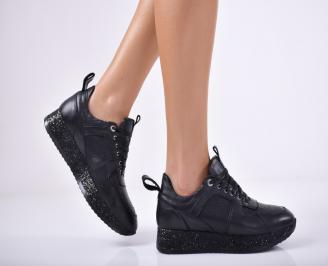 Дамски обувки от естествена кожа черни CLLZ-1011701