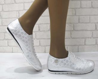 Дамски обувки от естествена кожа Гигант тъмно сребристи LXNO-23168