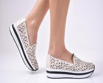 Дамски  обувки платформа естествена кожа бежови OJKJ-1012567