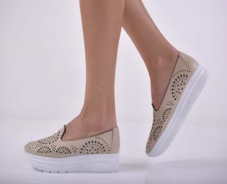 Дамски обувки  произведени България естествена кожа бежови  UEJB-1015231