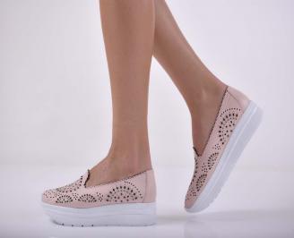 Дамски обувки  произведени България естествена кожа пудра  UUVQ-1015237