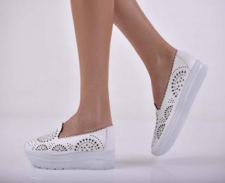 Дамски обувки  произведени България естествена кожа бели  DHJG-1015240