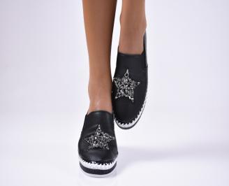Дамски  обувки равни  черни еко кожа QUGB-1012488
