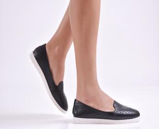 Дамски  обувки равни  черни еко кожа GKNN-26969