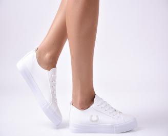 Дамски  обувки равни  еко кожа бели SDOP-1010003