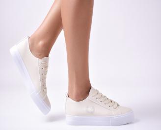 Дамски  обувки равни  еко кожа бежови NRVL-1010004