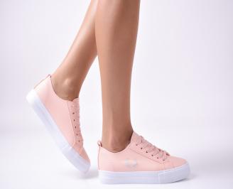 Дамски  обувки равни  еко кожа пудра XRXK-1010005
