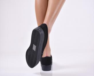 Дамски  обувки равни еко велур черни PICF-1011112