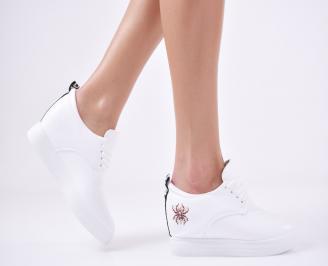 Дамски  обувки равни еко кожа бели WEKM-1011115