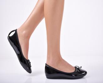 Дамски обувки равни еко лак черни COGR-1011726