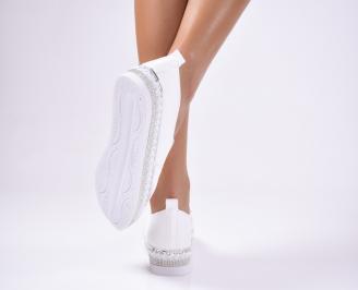 Дамски  обувки равни  еко кожа бели XKTU-1012489
