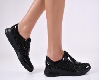 Дамски обувки равни еко кожа/лак черни LYUL-21146
