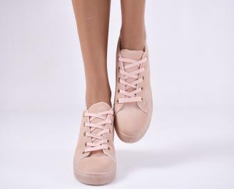 Дамски обувки равни еко кожа розови WDMM-25134