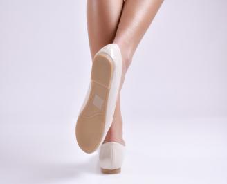 Дамски обувки равни еко лак бежови LDYW-26940