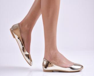 Дамски обувки равни еко лак златисти WKPX-26941
