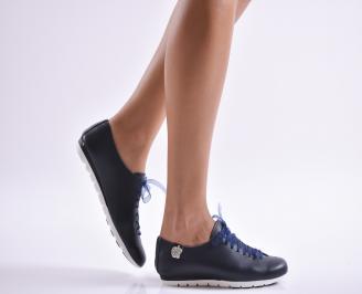 Дамски обувки равни естествена кожа тъмно сини SURB-1010108
