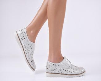 Дамски обувки равни естествена кожа сребристи EHMY-1010995