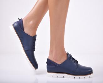 Дамски обувки равни естествена кожа тъмно сини ILNR-1011683