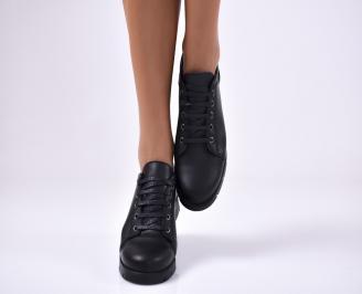 Дамски обувки равни естествена кожа черни PMFM-1012776