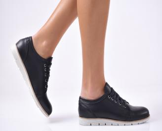 Дамски обувки равни естествена кожа черни EVGR-1012819