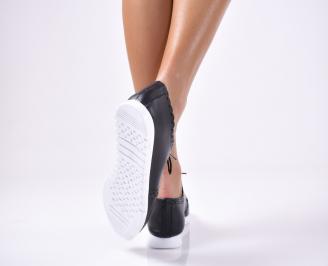 Дамски обувки равни естествена кожа черни TXAQ-1012822