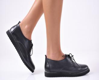 Дамски обувки равни естествена кожа черни GPNC-1012844