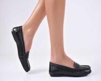 Дамски обувки равни естествена кожа черни OPOF-20959