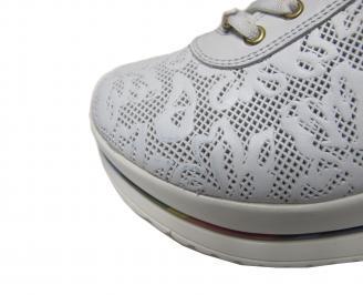 Дамски обувки равни естествена кожа бели AYUR-21156