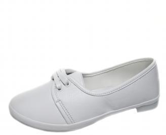 Дамски обувки равни естествена кожа бели ZDZF-21241