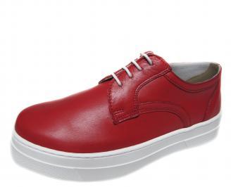 Дамски обувки равни естествена кожа червени RHKE-21247