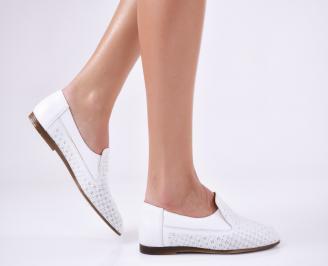 Дамски обувки равни естествена кожа бели LSUN-22869