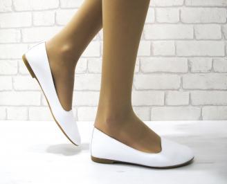 Дамски обувки равни естествена кожа бели ZEEW-22870