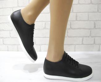 Дамски обувки равни естествена кожа черни GYXC-22877