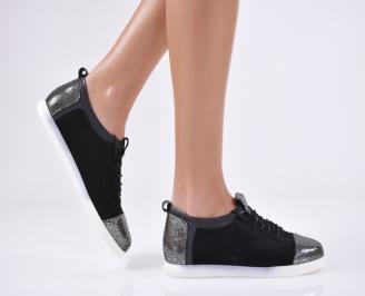 Дамски обувки равни естествена кожа черни AHOF-22878