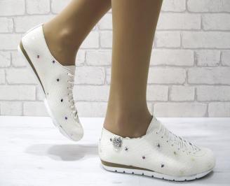 Дамски обувки равни естествена кожа бежови BURS-22879
