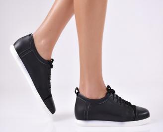 Дамски обувки равни естествена кожа черни BWHY-22880