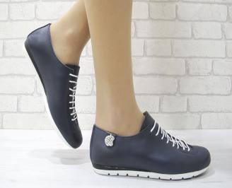 Дамски обувки равни естествена кожа тъмно сини TAED-22885