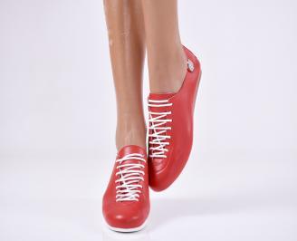 Дамски обувки равни естествена кожа червени TXCS-22886