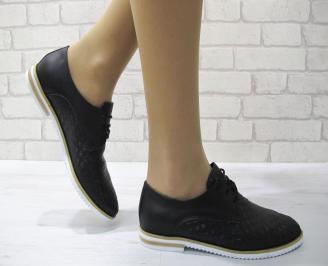 Дамски обувки равни естествена кожа черни VKRN-22887