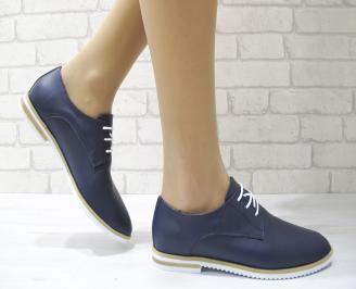 Дамски обувки равни естествена кожа тъмно сини CWMJ-22888