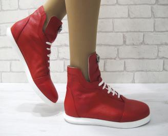 Дамски обувки равни естествена кожа червени ZESX-22889