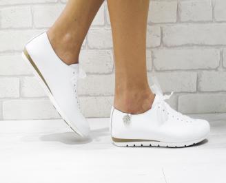 Дамски обувки равни естествена кожа бели YNEZ-22890