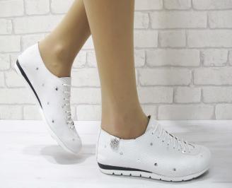 Дамски обувки равни естествена кожа бели DBOX-22891