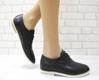 Дамски обувки равни естествена кожа черни HYTM-22892