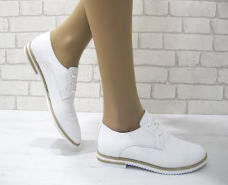 Дамски обувки равни естествена кожа бели RJZD-22893