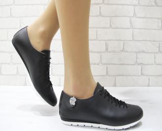 Дамски обувки равни естествена кожа черни PNAO-22894