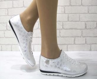 Дамски обувки равни естествена кожа сребристи LVEL-22905